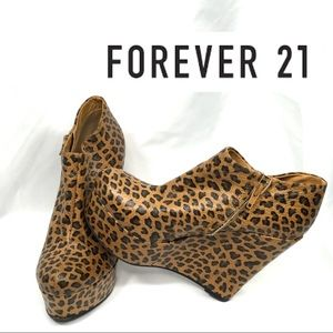 Forever 21 Leopard Print Side Bootie Wedge 7